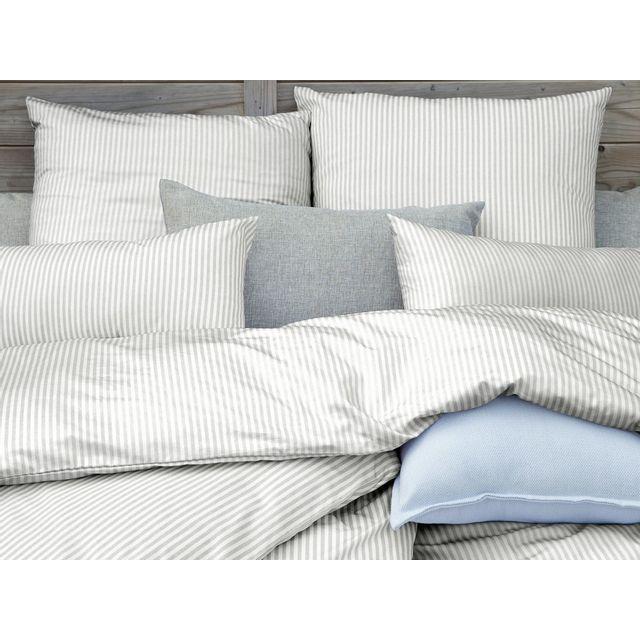 Dlm parure de lit 240x220 percale coton fine rayure blanc et gris timotee 220cm x 240 cm pas - Parure de lit gris et blanc ...