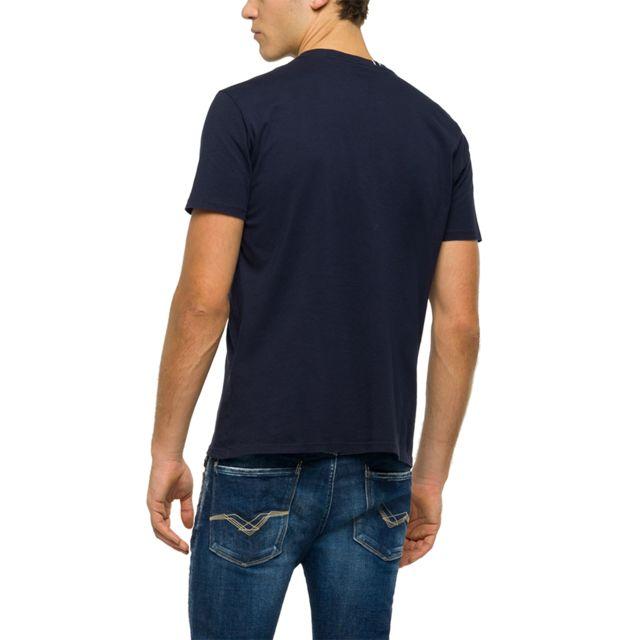 REPLAY Tee-shirt bleu T-shirt col rond en coton bleu foncé