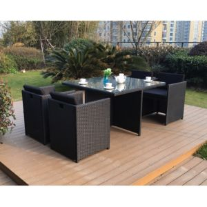 rocambolesk magnifique salon de jardin florida 4 noir noir salon encastrable 4 personnes en. Black Bedroom Furniture Sets. Home Design Ideas