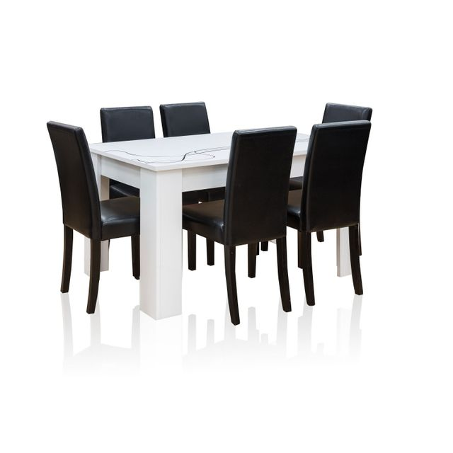 TOPDECO - Table extensible Lino + 6 chaises ANJI noires - pas cher ...
