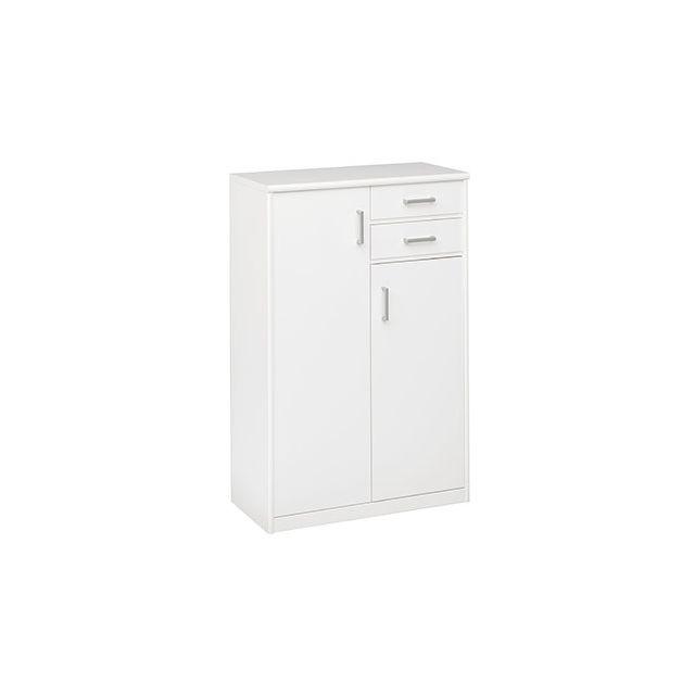Commode 2 portes 2 tiroirs 72x110x36cm en blanc