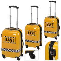Promobo - Set Lot 3 Valises Trolleys Polycarbonate Cadenas Voyage Avec Bagages A Main Trousse De Toilettes Taxi