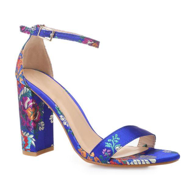 c1e7613eab2 Lamodeuse - Sandales bleues satinées à motif floral - pas cher Achat ...