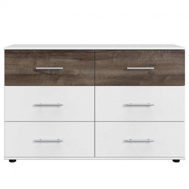 Inside 75 Commode Eva 6 tiroirs décor finition blanc / chêne châtaigne
