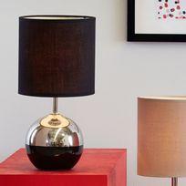 Corep - Lampe à poser pied boule en céramique effet métalisé hauteur 32cm Bille - Noir