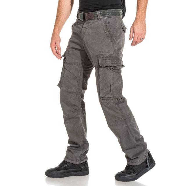 Deeluxe - Pantalon homme cargo fashion gris charcoal avec ceinture ... 42ae1beae8c