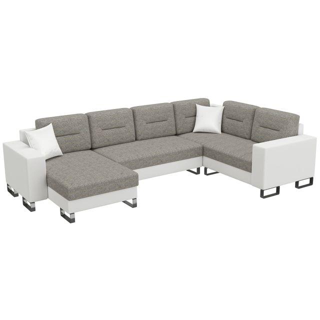COMFORIUM - Canapé d angle convertible 4 places en tissu gris et pvc ... b5365e54a4bf