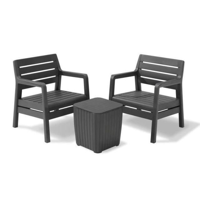 Salon De Jardin - Ensemble Table Chaise Fauteuil De Jardin Delano Ensemble  de balcon 2 places avec coussins assises - 2 fauteuils et une table basse -  ...