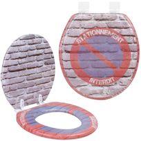 Promobo - Abattant de Toilettes Wc Panneau Stationement Interdit Soft Mousse