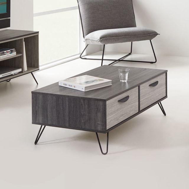 Nouvomeuble Table basse moderne couleur bois gris Santori