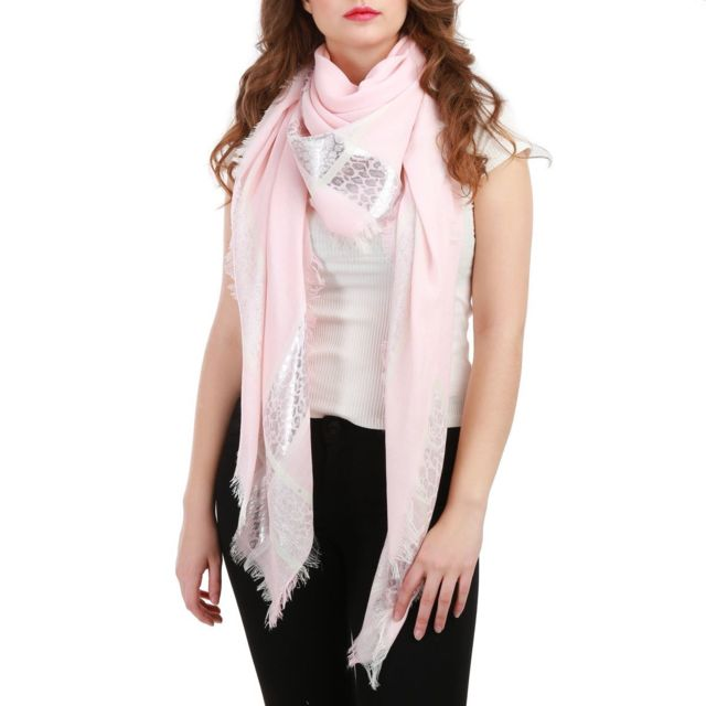 Lamodeuse - Foulard uni rose avec bande imprimée léopard - pas cher ... 3e7d789b62f