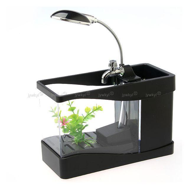 3 en 1 Mini Aquarium Lampe de Bureau Boîte Range Porte Crayon Stylo