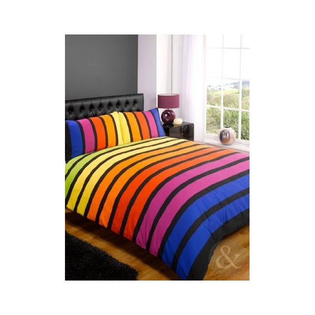 just contempo parure de lit en polycoton motif rayures poly coton multi coloured red yellow. Black Bedroom Furniture Sets. Home Design Ideas