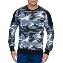 Violento - Pull camouflage homme col rond Pull camo 808 blanc