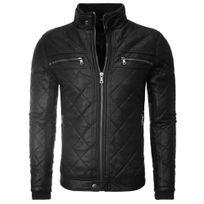 Young And Rich - Veste imitation cuir homme Veste 408-YR noir