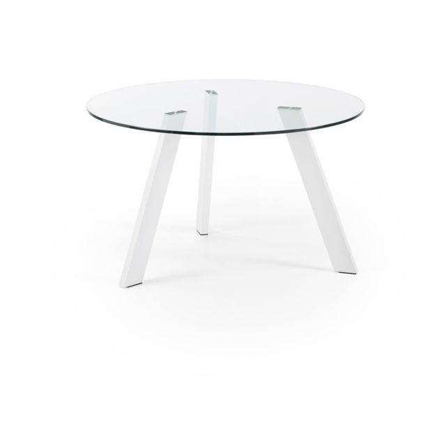 Kavehome Table Carib 130 cm, blanc et verre