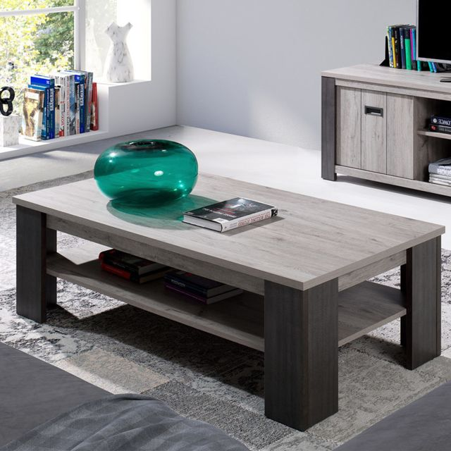 Kasalinea Table basse contemporaine 130 cm couleur chêne gris Melany