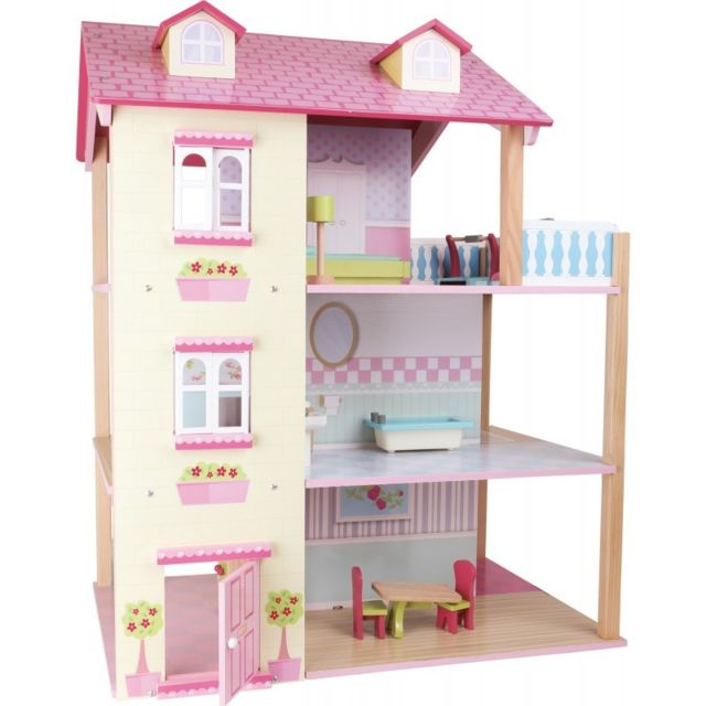 Small Foot Company Maison de poupée Toit rose 3 étages, tournante
