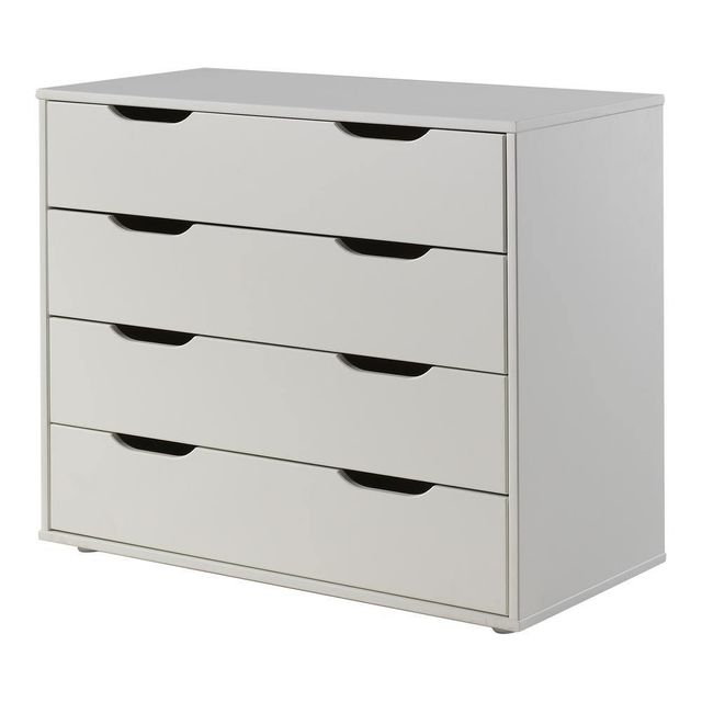 Comforium Commode 85 cm à 4 tiroirs en pin massif coloris blanc