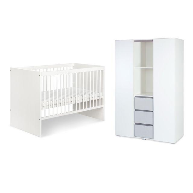 Klups Lit bébé 60x120 et armoire 3 portes LittleSky by Dalia - Blanc