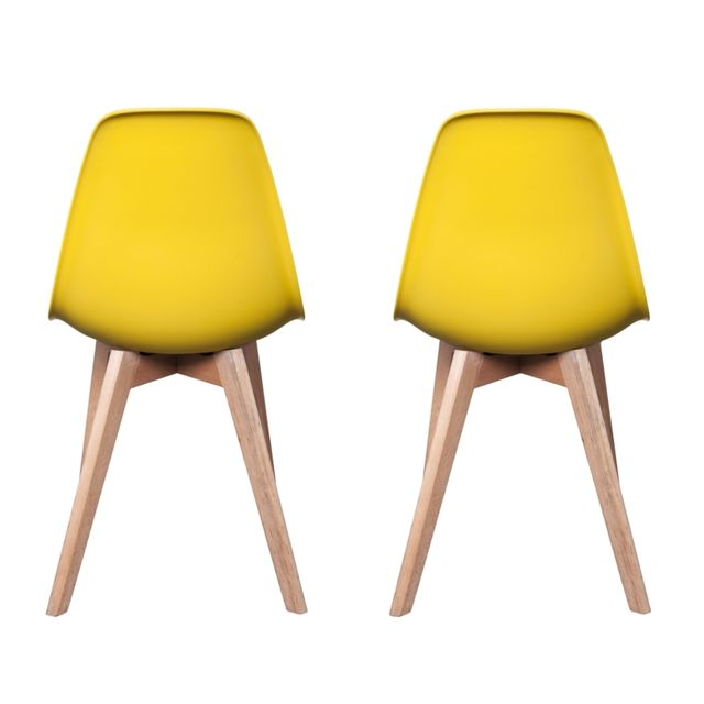 Ego Design - Chaise Stokholm Jaune pieds bois lot de 2