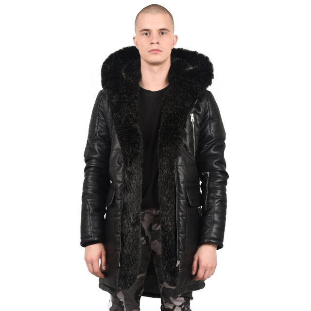 8b2250e4c9cc PROJECT X - Parka effet cuir et fourrure à l intérieur Homme Paris, Taille   S, Couleur  Noir - pas cher Achat   Vente Blouson homme - RueDuCommerce
