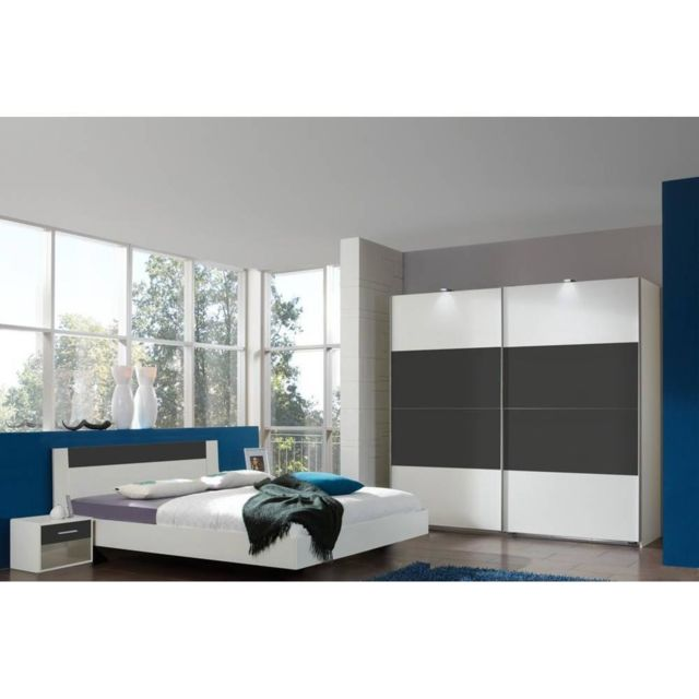inside 75 chambre coucher thalia 160 200cm blanche anthracite bi color pas cher achat. Black Bedroom Furniture Sets. Home Design Ideas