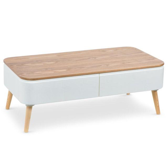 menzzo table basse scandinave bergen blanc et bois pas. Black Bedroom Furniture Sets. Home Design Ideas