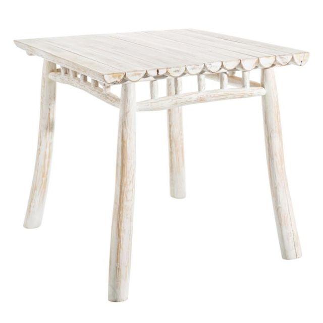 Tousmesmeubles Table de repas carrée Bois Blanc - Pyla