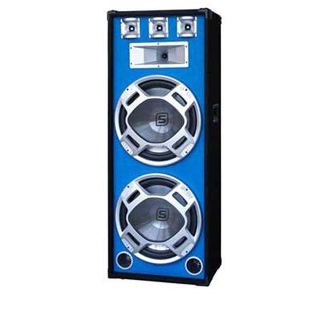 SKYTEC Enceinte Sono PA 2 x38cm avec LED bleues 1000W