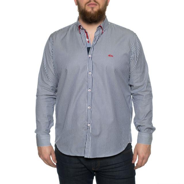 Dario Beltran Chemise rayée bleu marine et blanc