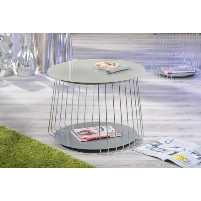 Inside 75 Table basse design Riva en verre satine cappuccino et acier chrome
