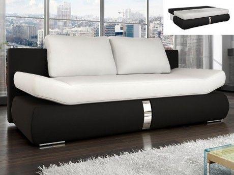 Canapé 2 places convertible en simili JADEN - Bicolore blanc et noir