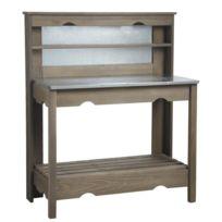 AUBRY GASPARD - Table à plancha en bois et zinc