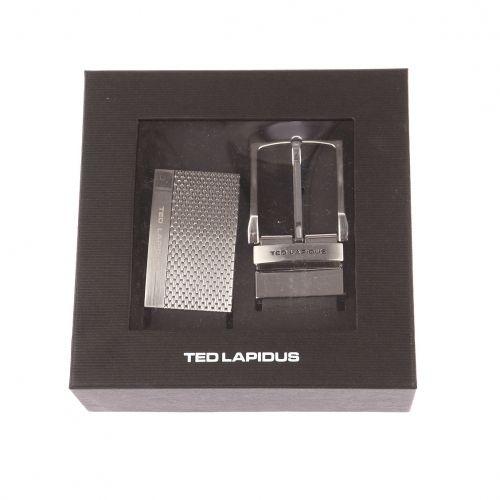 Ted Lapidus - Coffret ceinture ajustable Ted Lapidus en cuir noir   1 boucle  pleine striée 80c0ecc26bc