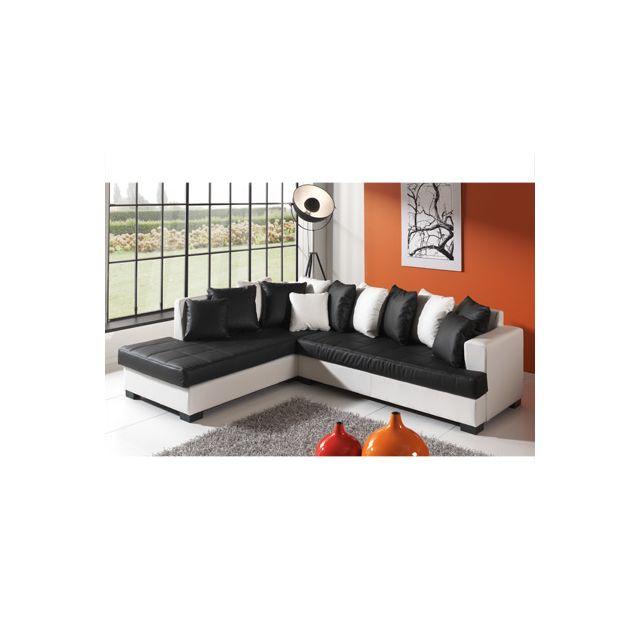 Canapé d'angle à gauche blanc et noir Paros