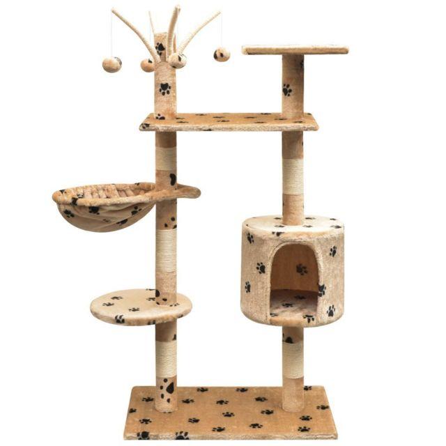 Helloshop26 Arbre à chat griffoir grattoir niche jouet animaux peluché et sisal 125 cm empreintes de pattes beige 3702103