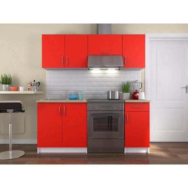 Ma Maison Mes Tendances Cuisine complète 180 cm Rouge Mat Billy - L 180 x l 56 x H 82