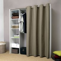 Dressing extensible profondeur 50cm avec rideau coton - Blanc / Taupe - De 123 à 160 cm