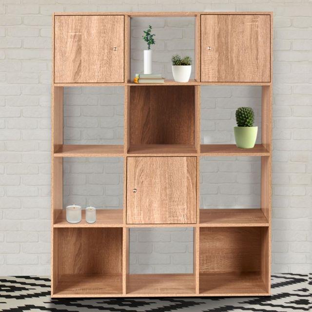 Meuble Rangement Cube idmarket - meuble de rangement cube 12 cases bois façon hêtre avec 3