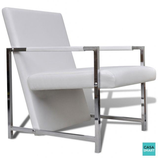 Casasmart Pauka fauteuil blanc avec pieds chromés