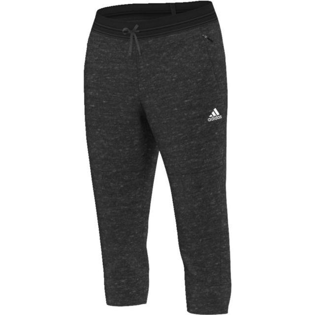 Adidas - Pantalon 3/4 molleton gris foncé gris anthracite XS