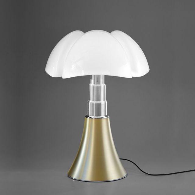 Martinelli Luce Pipistrello-lampe ampoules Led pied télescopique H66-86cm Laiton - designé par Gae Aulenti