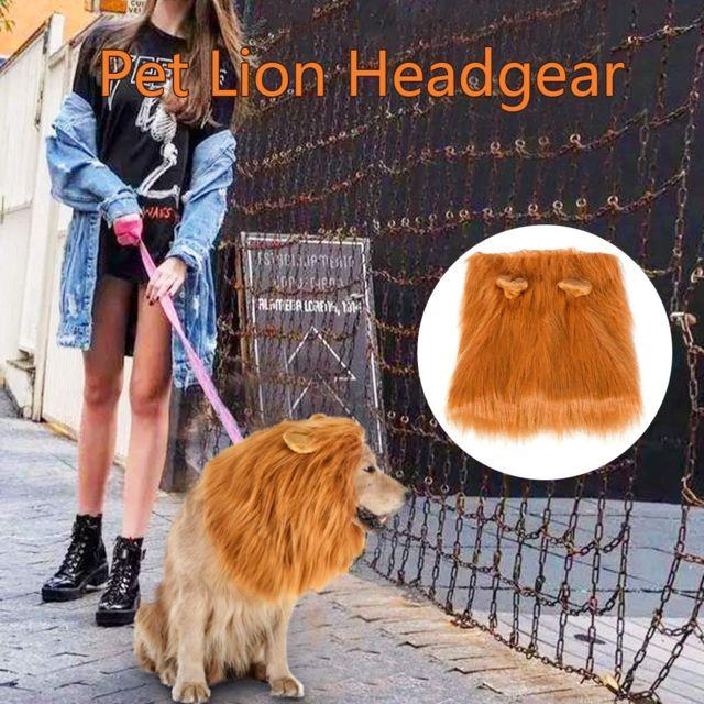 GÉNÉRIQUE Decoration Animal familier Mane perruque avec oreilles fantaisie réglable Costume Chiens et Queue Marron