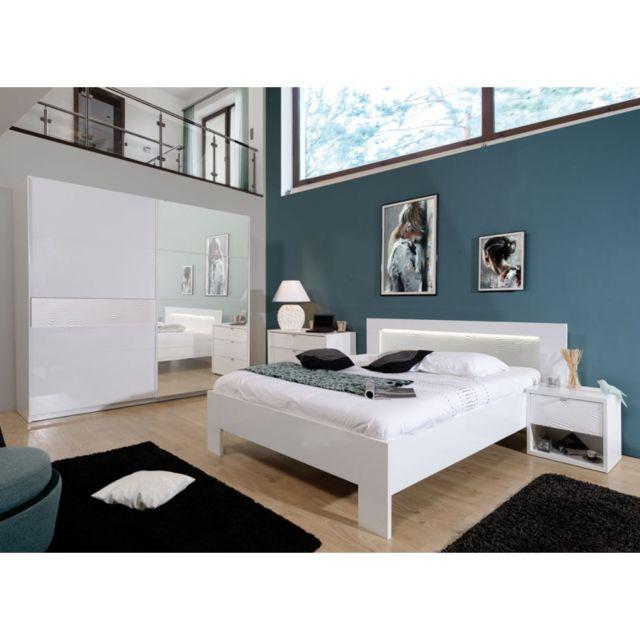 Tousmesmeubles - Chambre Adulte Complète 140 190, Laqué Blanc ...