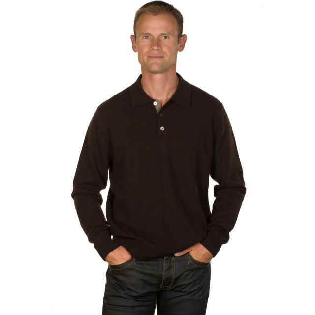 Ugholin Pull 100% cachemire homme col polo marron