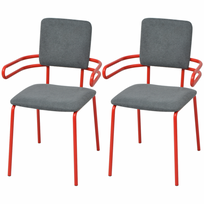 Vidaxl - Chaises / fauteuil de salle à manger 2 pièces rouge et gris