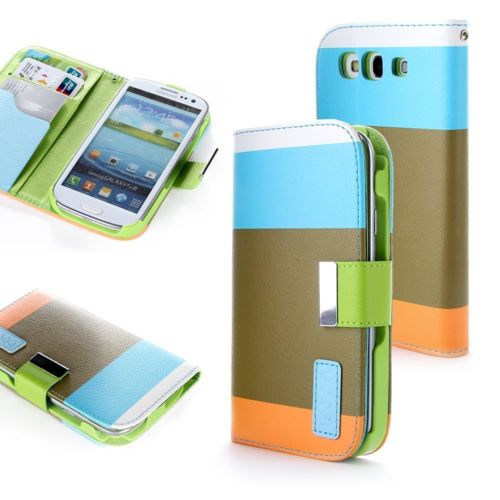 Lapinette - Etui Housse Tri-Couleur Pour Samsung Galaxy S3 - Bleu kaki orange