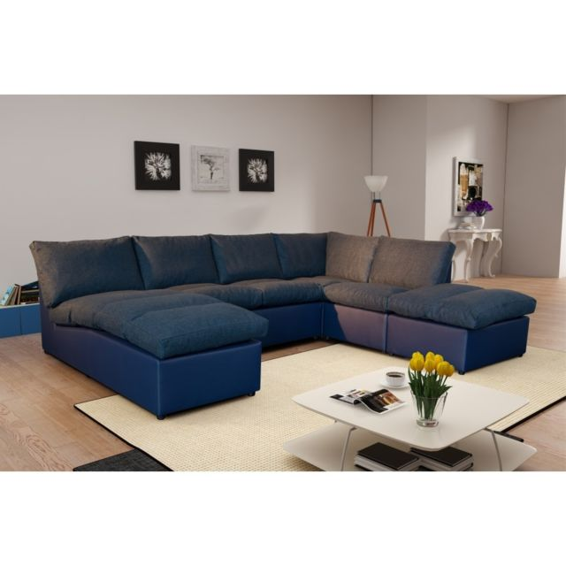 rocambolesk canap d 39 angle modulable avanti bleu marine panoramique achat vente canap s pas. Black Bedroom Furniture Sets. Home Design Ideas