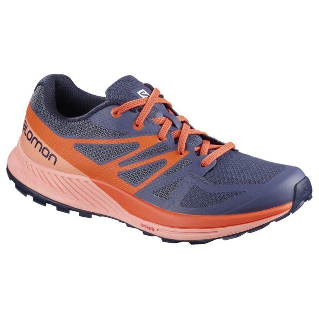 0f0fd2541f71 Salomon - Chaussures femme Sense Escape bleu nuit orange corail - N A - pas  cher Achat   Vente Chaussures trail - RueDuCommerce